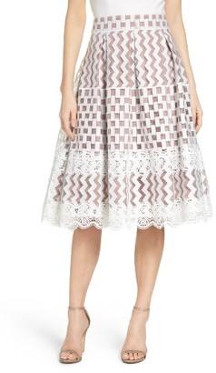 Women's Eliza J Lace Midi Skirt $208 thestylecure.com