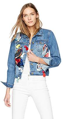 Bagatelle Women's Embroidered Denim Jacket with Tassels