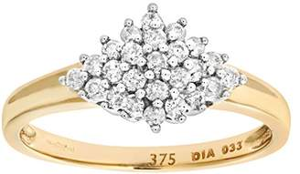 N. Naava Women's 9 ct Yellow Gold 0.33 ct Round Cut Diamond Cluster Ring, Size M