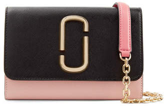 Marc Jacobs Snapshot Two-tone Textured-leather Shoulder Bag - Blush
