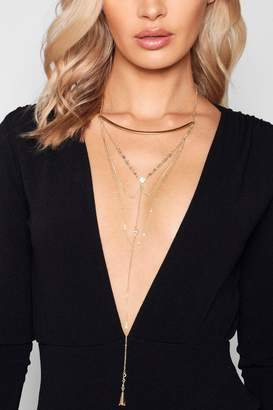 boohoo Skinny Bar Statement Plunge Necklace