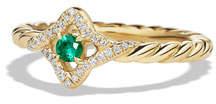 David Yurman 5mm Venetian Quatrefoil Emerald Ring, Size 6