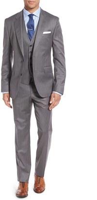 Men's Boss 'Johnstons/lenon/we' Trim Fit Three-Piece Solid Wool Suit $945 thestylecure.com