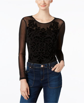 INC International Concepts Illusion Velvet-Pattern Bodysuit, Only at Macy's $79.50 thestylecure.com