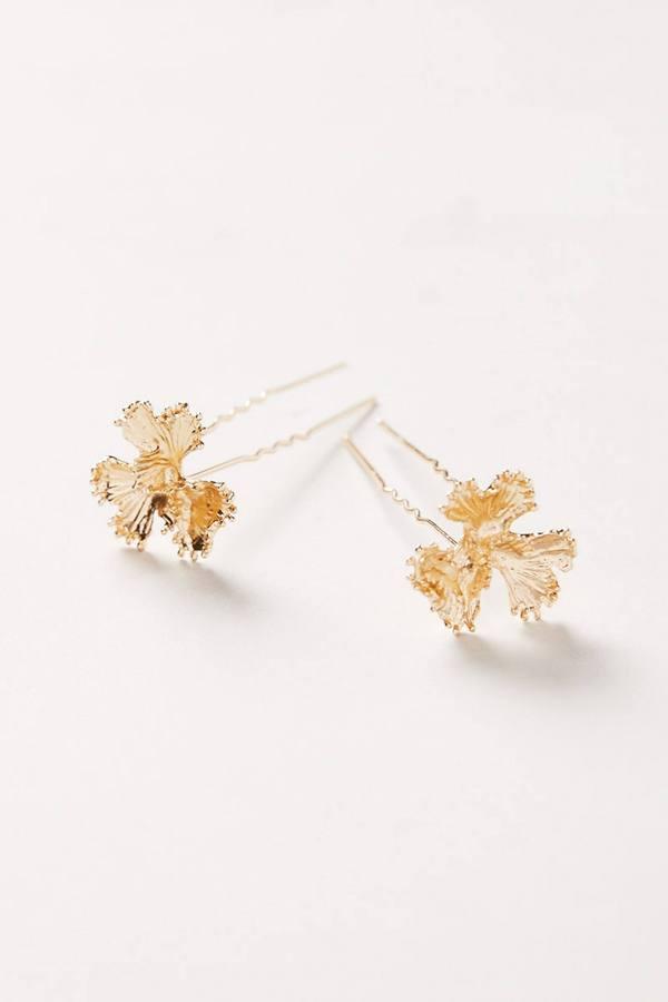 Anthropologie Golden Fleur Hair Pins