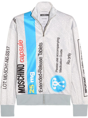 Moschino - Printed Jersey Sweatshirt - Gray $495 thestylecure.com