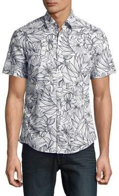 HUGO BOSS Floral Cotton Button-Down Shirt