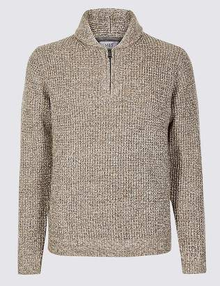 Marks and Spencer Textured Shawl Zip Neck Jumper