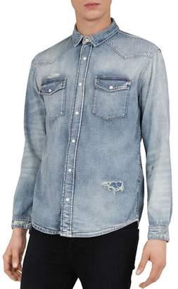 The Kooples Distressed Denim Regular Fit Button-Down Shirt