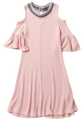Zunie 3/4 Sleeve Cold Shoulder Waffle Knit Dress (Big Girls)