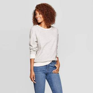 Universal Thread Women's Striped Long Sleeve Crewneck Sweatshirt Black