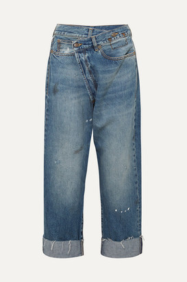 R 13 Crossover Asymmetric Distressed High-rise Wide-leg Jeans - Mid denim