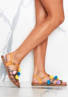 c8cbc96fd3c Missy Empire Missyempire Klio Tan Gladiator Pom Pom Sandals