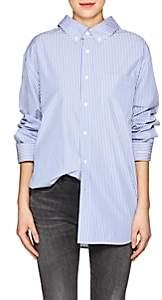 Balenciaga Women's Striped Cotton Poplin Button-Down Shirt - Blue