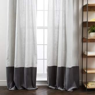 west elm Belgian Flax Linen Velvet Colorblock Curtain - Platinum/Iron