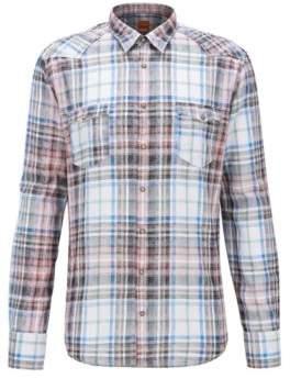 BOSS Hugo Plaid Cotton Sport Shirt, Extra Slim Fit Erodeo XXL pink