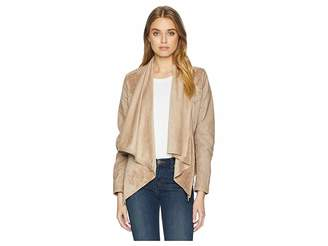 Blank NYC Faux Suede Drape Front Jacket in Hump Day