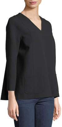Leon Max V-Neck Patch-Pocket Blouse