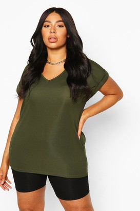 boohoo Plus Basic Rib Oversized T-Shirt