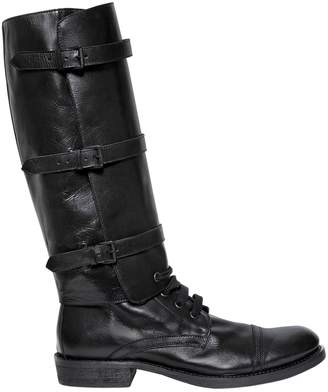 Ann Demeulemeester 30mm Leather Boots W/ Detachable Shaft