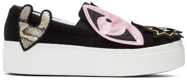 KenzoKenzo Black K-Patch Platform Slip-On Sneakers