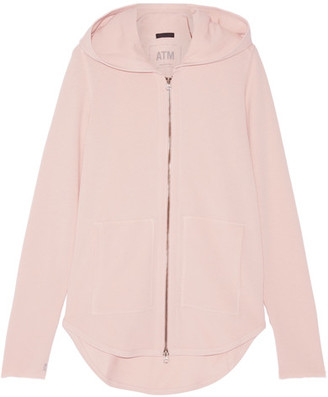 ATM Anthony Thomas Melillo - French Cotton-blend Terry Hooded Top - Blush $225 thestylecure.com