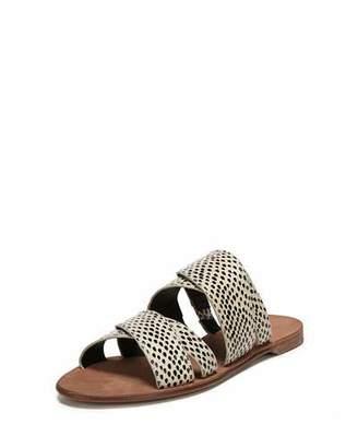 Diane von Furstenberg Blake Flat Snakeskin Banded Slide Sandal