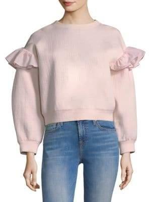 Rebecca Taylor Organza Ruffle Sweatshirt