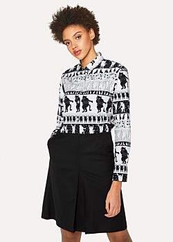 Paul Smith Women's 'Dancing Cats' Print Cotton Shirt