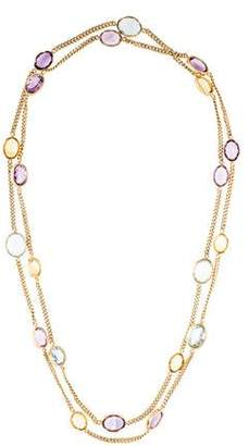 14K Amethyst, Citrine & Topaz Station Necklace
