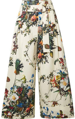 ADAM by Adam Lippes Cropped Floral-print Cotton-poplin Wide-leg Pants - Ivory