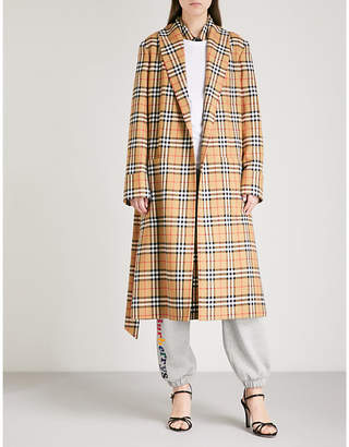 Burberry Checked wool trench coat