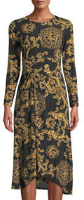 Long-Sleeve Ruched Floral-Print Jersey Shift Dress