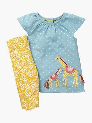 Boden Mini Baby Giraffe Appliqué Dress and Leggings Set, Mineral Blue/Yellow