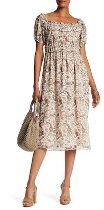 Max Studio Smocked Floral Midi Dress
