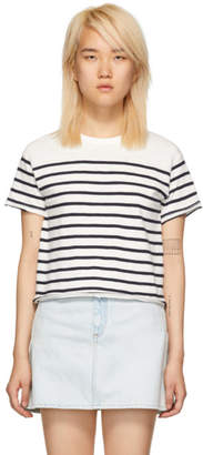Rag & Bone White and Navy Striped Halsey T-Shirt