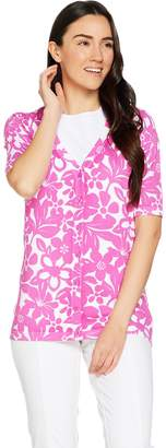 Denim & Co. Elbow Sleeve Printed Button Front Cardigan