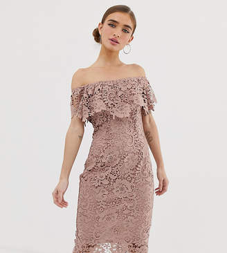 Paper Dolls Petite bardot lace pencil dress in taupe
