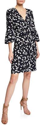 Sachin + Babi Tamaris V-Neck Bell-Sleeve Print Dress