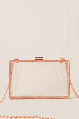francesca's Diane Clear Clutch Crossbody - Rose