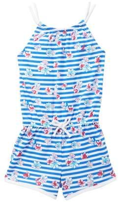 Nautica Striped & Floral Print Rope Strap Romper (Toddler Girls)