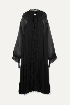 Rotate by Birger Christensen Ruffled Plissé-chiffon Maxi Dress - Black