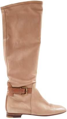Santoni Beige Leather Boots
