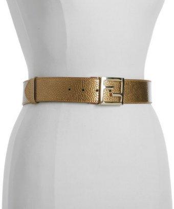 Fendi gold pebbled leather reversible belt