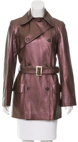 CelineCéline Double-Breasted Leather Coat