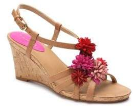 Tahari Favor Floral Leather Wedge Sandals