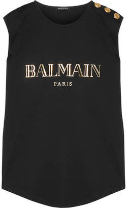 Balmain - Button-embellished Printed Cotton-jersey Top - Black $250 thestylecure.com