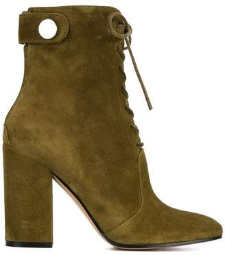 Gianvito Rossi Green Suede lace up 105 ankle boots