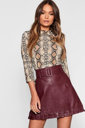 0c137c96ba boohoo Belted PU Frill Hem Leather Look Mini Skirt