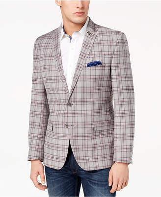 Nick Graham Men's Slim-Fit Stretch Gray/Burgundy Plaid Sport Coat